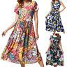 Plus Size Womens Flower Short Sleeve High Waisted Summer Casual Swing Sun Dress