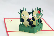 3D Pop Up Greeting Card Lovely Panda Birthday New Year Valentines Day Thank You