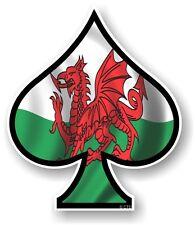 ACE OF SPADES With Welsh Wales CYMRU Flag Vinyl Car Truck Helmet Sticker decal