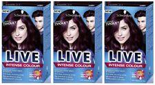 Schwarzkopf LIVE Intense 087 Mystic Violet Anti Fade Long Lasting Hair Dye x 3