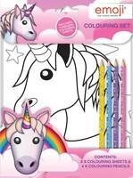 Emoji Unicorn Colouring Set Kids Activity Pack Gift Party Bag Filler Children