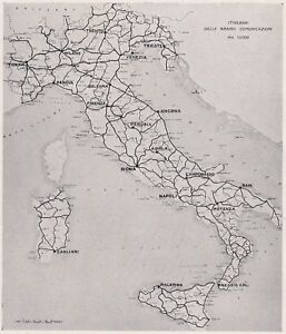 D3162 Net Road I Class IN Italy - Map Geographical - 1927 Vintage Map