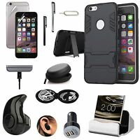 Black Kickstand Case Cover Wireless Headset Accessory Bundle For iPhone 8 Plus