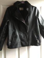 """Zara Negro Imitación Cuero Biker Jacket 11-12 años muy cálido pecho 32"""""""