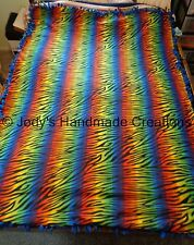 "EX- LONG /LARGE HANDMADE FLEECE TIED THROW / BLANKET 58"" X 79"" RAINBOW ZEBRA"