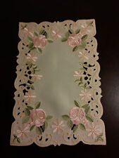 """2 pcs 12x18""""Embroidered Placemat Spring Pink Rose Table Topper Home Decor"""