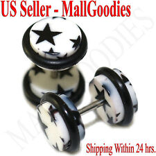 1276 Fake Cheater Illusion Faux Ear Plugs White & Black Stars Design 0G 8mm