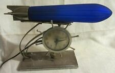 Zeppelin airplane lamp replacement globe 1930 art deco shade blue glass USA made
