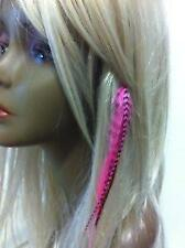 Clip on 4-6 Pink & Brown Feathers for Hair Extension 5 Feathers