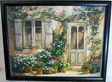 """The picture embroidered with beads """"Italian courtyard"""" handmade 43х33 cm"""