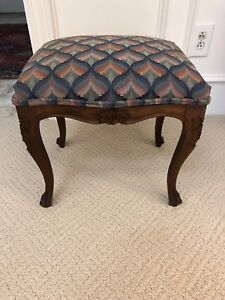 ANTIQUE VINTAGE FRENCH WALNUT & UPHOLSTERY HAND CARVED FOOTSTOOL FURNITURE