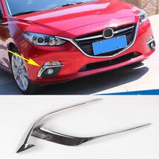 Chrome Front Fog Light Cover Trim Eyebrow Garnish For Mazda 3 2014-2016