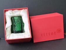 "NIB Signed TITTOT  Art glass Green  Small 3.5"" Vase"