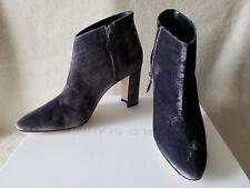 NIB Manolo Blahnik 10 40 Brusta Brustalo Velvet Boots Booties Gray Grey Heels