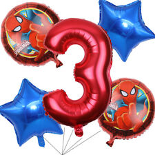 Spiderman Balloons Bouquet 3rd Birthday 5pcs - Party Supplies Decoration
