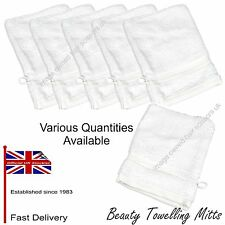 White Toweling Mitts Beauty Make Up Massage Facial Spa Therapy Toweling Mits