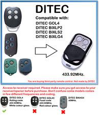 DITEC GOL4, BIXLP2, BIXLS2, BIXLG4 Compatible Remote Control 433.92MHz.