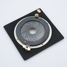 Linhof Kardan 4x5 Lens Board with Brevette Italy Universal Iris RARE Find