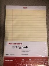 Office Depot Legal/Wide-Ruled Canary Glue-Top Writing Pads, Letter Size, 12-Pack