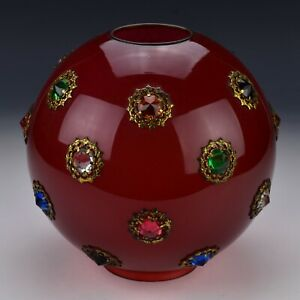 Large Antique Cased Cranberry Glass Lamp Shade with Inset Colored Jewels