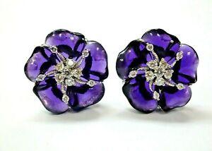 Amethyst & Diamond Flower Huggie Earrings 18Kt White Gold 22mm .90Ct