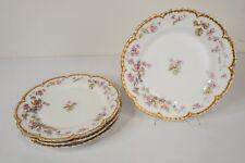 "Antique Haviland Limoges Double Gold Rim Flower Dinner Plate 9 3/4"" Dia Set of 4"