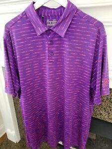 Under Armour HeatGear Loose Men's Stretch Golf Polo Purple Shirt Neon Pink XL