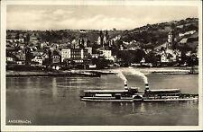 Andernach Rheinland Pfalz s/w Postkarte ~1920/30Totale Schiff Rhein Dampfer