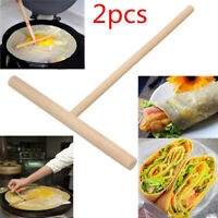 2x Wooden Rake Round Batter Pancake Crepe Spreader DIY Home Kitchen Tools