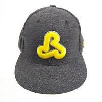 ReHab Grey Tweed Snapback Hat Flat Fitty Yellow Brim Baseball Trucker Cap
