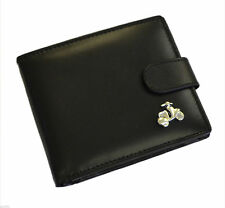 Black Leather Wallet with Silver Scooter Design - XLW1