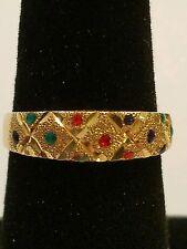 Beautiful 10 karat yellow gold multi gemstone diamond cut ring