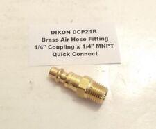 "DIXON 1/4"" Coupling x 1/4"" MNPT Threaded Plug - Brass - Air Hose Quick Connect"