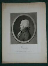 """QUENEDEY Edme """"Portrait de Monsigny"""" 1809, dessin au physionotrace gravé"""