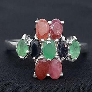 World Class 2.30ctw Ruby, Emerald & Sapphire 925 Sterling Silver Ring Size 7.75