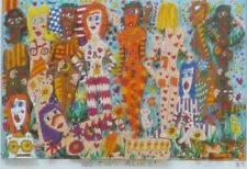 "James Rizzi woman ""NO TWO ALIKE"" 1989 Hand Signed 3-D  Serigraph Pop Art framed"