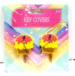 ICE CREAM CUPCAKE Key Cover Novelty Cap with Key Chain 2 Pack