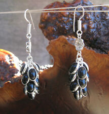 """Black Onyx Sterling Silver Layered/Plated 14-Oval Settings Dangle Earrings 2.3"""""""