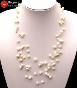 """6-7mm Natural Freshwater Starriness White Pearl Necklace for Women 8 Strands 18"""""""