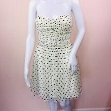 Delias Juniors 5 Dress Ivory Black Polka Dot Tulle Strapless Short Fit Flare