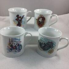 Disney Set 4 Mugs Alice Looking Glass Porcelain Tankard Cheshire Rabbit Hatter+