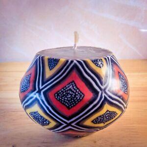 Round candle ethnic design   Fair trade African mud cloth pot candle   Bogolan