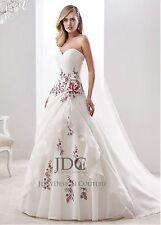 Weiß Organza Brautkleid Hochzeitskleid A-Linie Schulterfrei Rot Burgundy Spitze