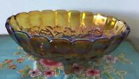 Beautiful Vintage Iridescent Arizona Carnival Glass Oval Footed Bowl