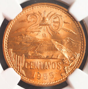 1955, Mexico (Republic). Beautiful Copper 20 Centavos Coin. NGC MS-65 RD!