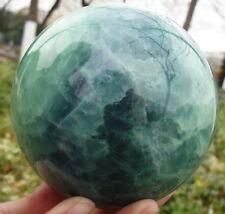 83MM Glow In The Dark Natural Green Fluorite Magic Crystal Healing Ball + Stand%
