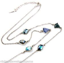 BLUE GREEN IRIDESCENT AURORA BOREALIS Crystal Rhinestone Pendant Chain Necklace