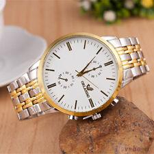 Mens Fashion Metal Watch Silver Gold Band Analog Quartz Wrist Watch