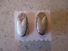 """CUFF LINKS, BRUSHED SILVER TONE, SWANK, OVALS, 1"""" X 1/2"""""""