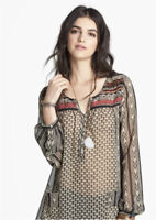Free People Feather in the Wind Tunic Top Boho Sequin Beaded Embellished Sz SP